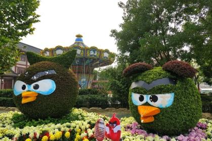 שיחים גזומים ומעוצבים אנגרי בירדס בפארק הציפורים בלואו-חה