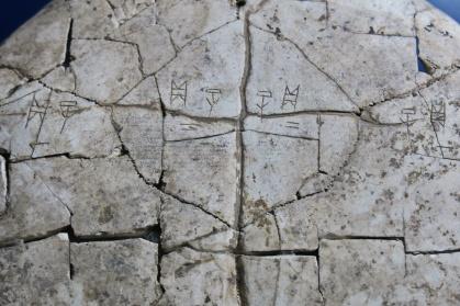 כתב סיני עתיק חרוט על שריון צב במוזיאון הכתב הסיני באן-יאנג