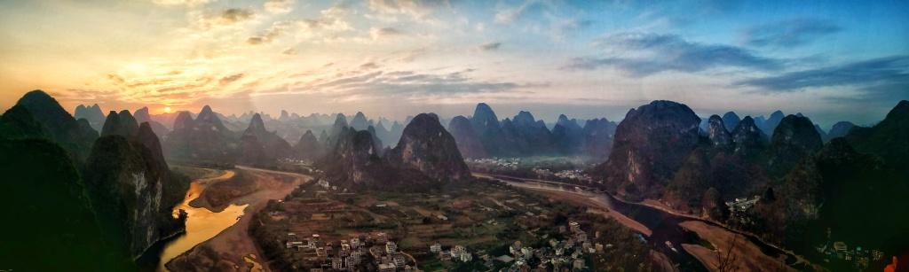סין-גווילין-יאנגשואו-שקיעה מן הפסגה